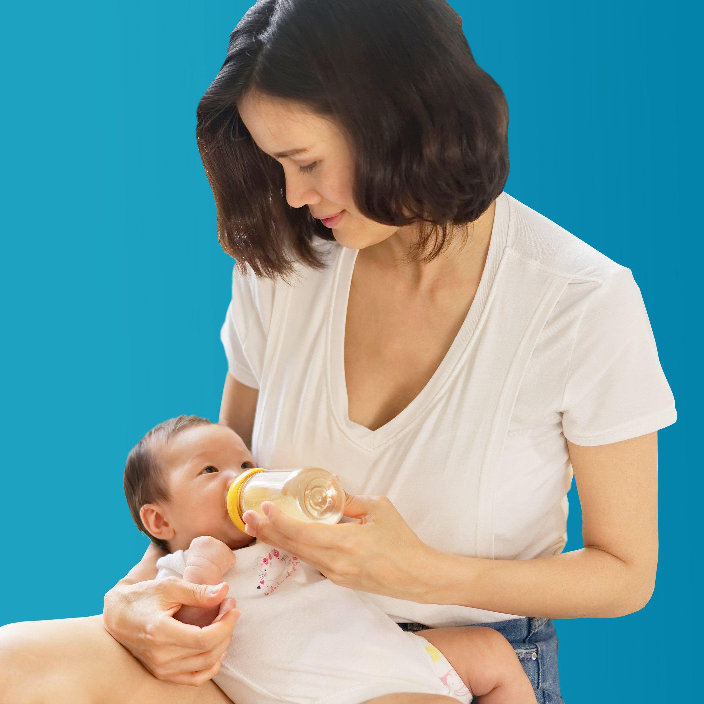 mother bottle feeding baby info tile